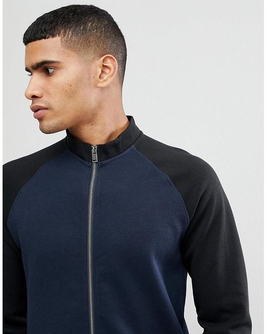 SELECTED - Blue Track Sweat With Contrast Sleeve for Men - Lyst