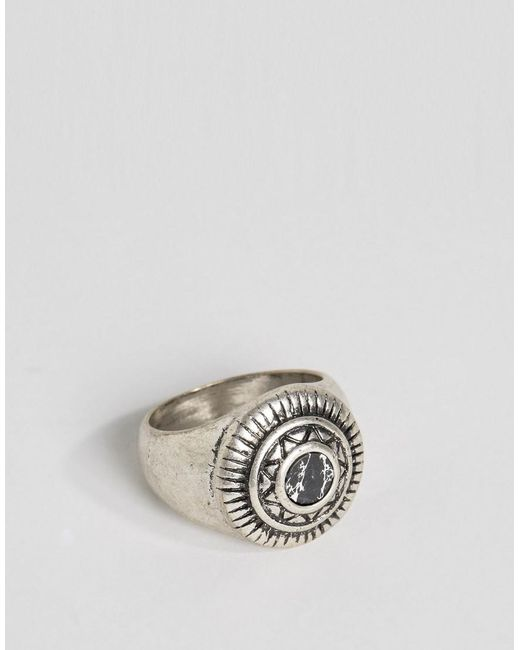 ASOS - Metallic Embellished Signet Ring With Black Look Stone for Men - Lyst