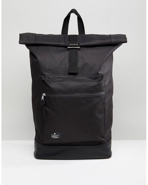 ASOS - Rolltop Backpack In Black With Faux Leather Base for Men - Lyst