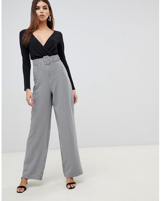 6660cb89a7 Lipsy - Gray 2 In 1 Dogtooth Jumpsuit In Monochrome - Lyst ...
