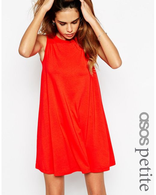 ASOS | Blue Petite Sleeveless Swing Dress | Lyst