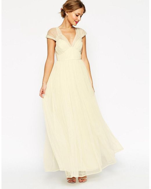 ASOS | Natural Wedding Ruched Mesh Panel Maxi Dress | Lyst
