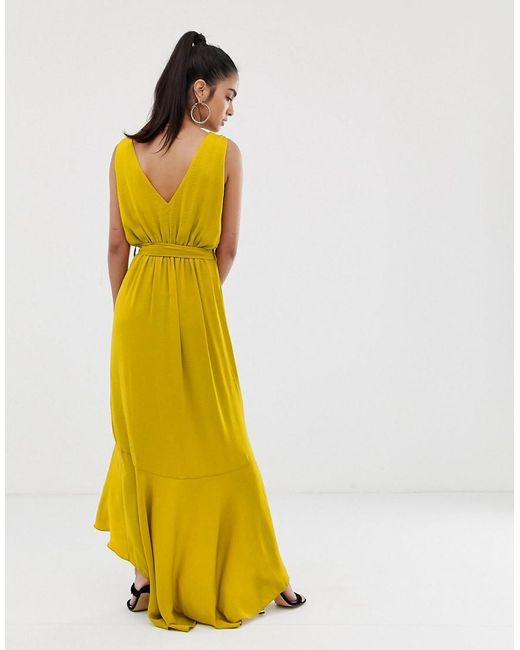 7118956954 ... Flounce London - Yellow Wrap Front Midaxi Dress In Chartreuse - Lyst