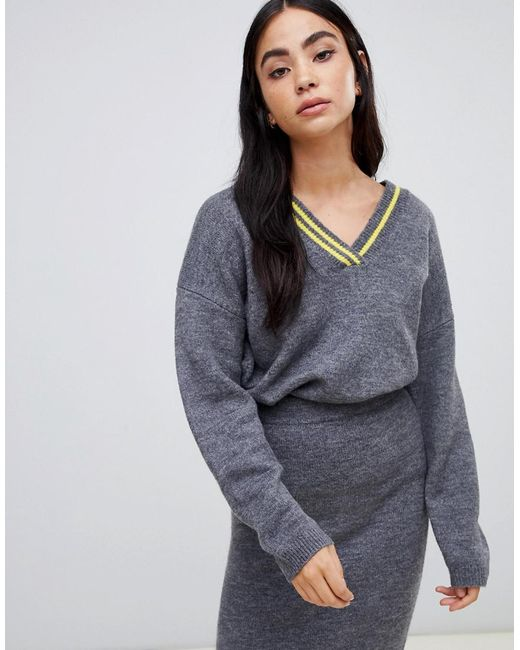 ASOS - Gray Co-ord V Neck Jumper With Tipping - Lyst