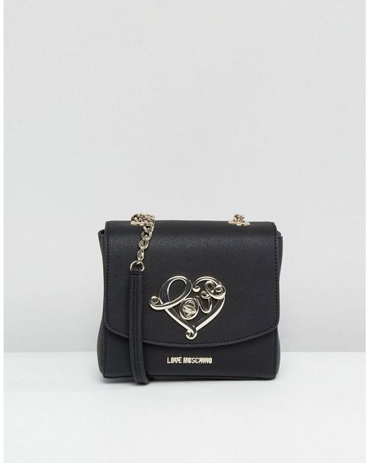 Love Moschino | Black Textured Small Shoulder Bag | Lyst