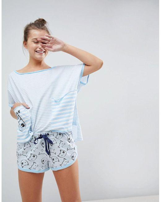 ASOS - Blue Asos Feline Lazy Stripe Tee & Short Pajama Set - Lyst
