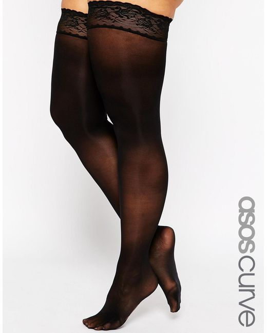 Asos Curve 50 Denier Lace Top Hold Ups In Black