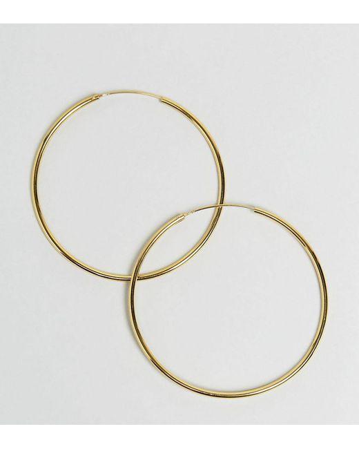 ASOS DESIGN - Metallic Gold Plated Sterling Silver 60mm Hoop Earrings - Lyst