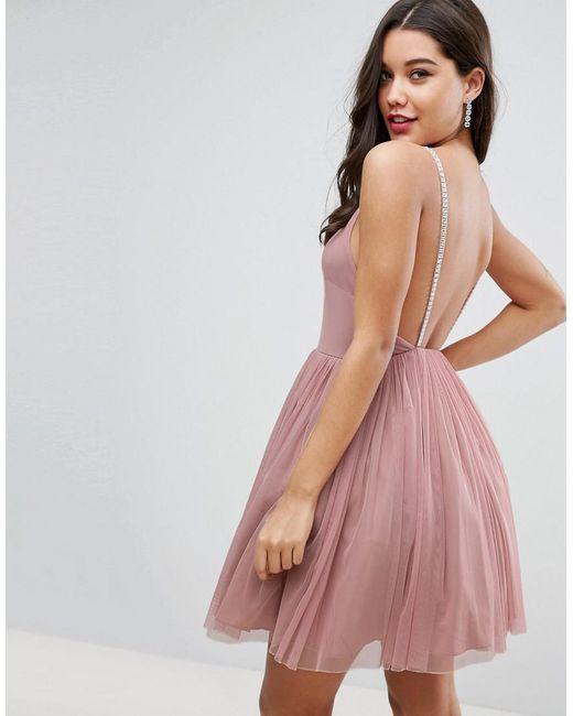 Asos Pink Embellished Strap Mini Tulle Dress Lyst