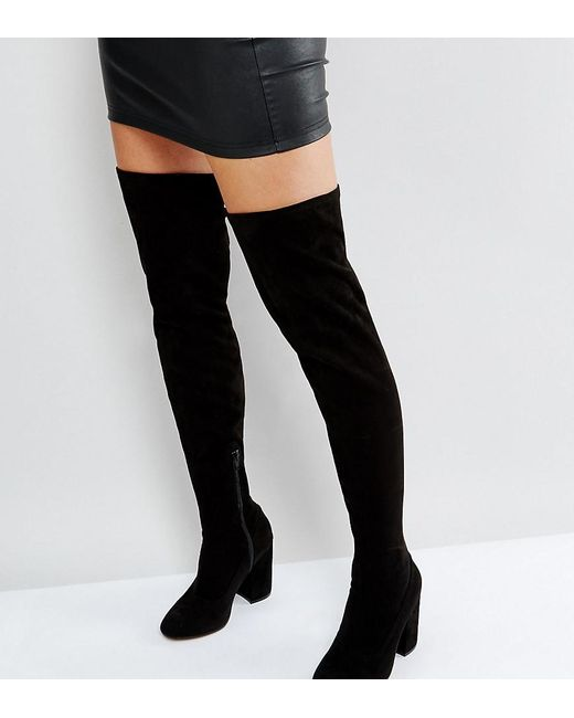 98240e37b3df ASOS - Black Asos Katcher Wide Fit Heeled Over The Knee Boots - Lyst ...