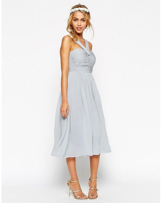 ASOS | Blue Wedding Midi Dress With Halter Neck Detail | Lyst
