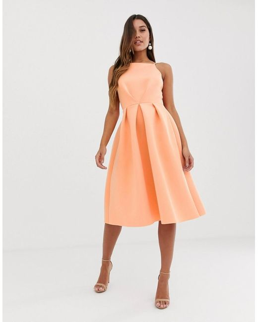 b8b56d62922b5 ... ASOS - Orange Bow Back Midi Prom Dress - Lyst