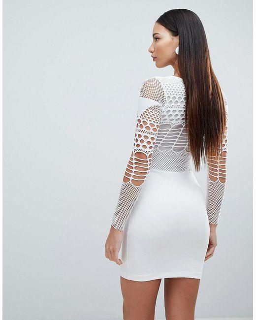 ... Forever Unique - White Mesh Long Sleeve Mini Dress - Lyst 846e7a1b6