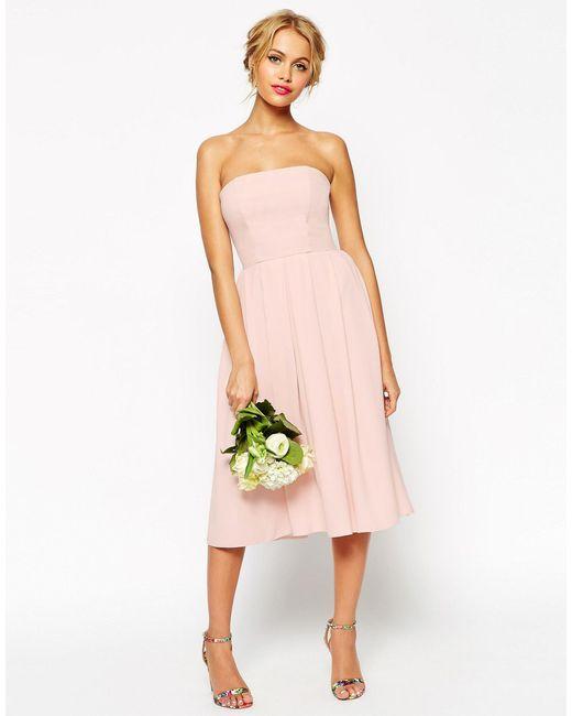 ASOS   Pink Wedding Bandeau Midi Dress   Lyst