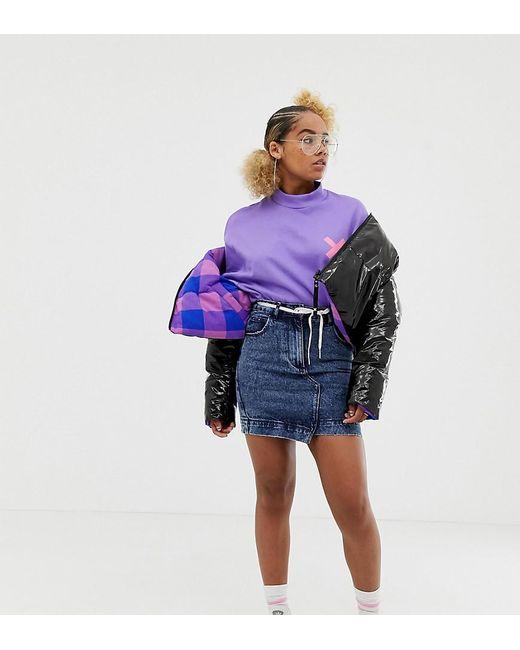 d336b3336f15 Collusion - Blue Petite Denim Mini Skirt In Mid Snow Wash - Lyst ...