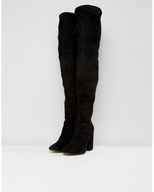 55bc9ee24a3 ... ASOS - Black Asos Katcher Wide Fit Heeled Over The Knee Boots - Lyst
