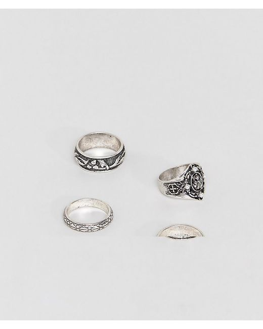 ASOS - Metallic Ring Pack With Cross In Burnished Silver Tone for Men - Lyst