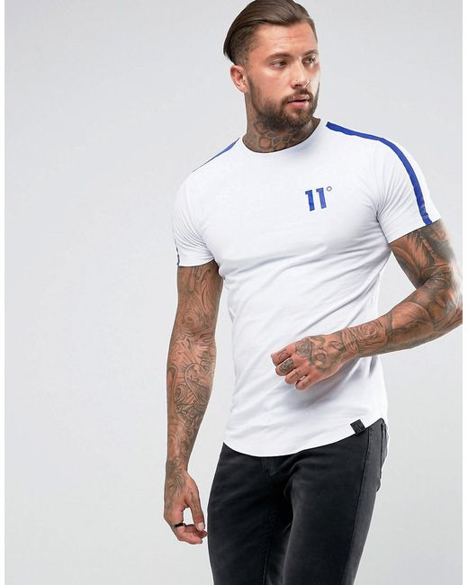 11 Degrees | T-shirt In White With Blue Reflective Stripe for Men | Lyst
