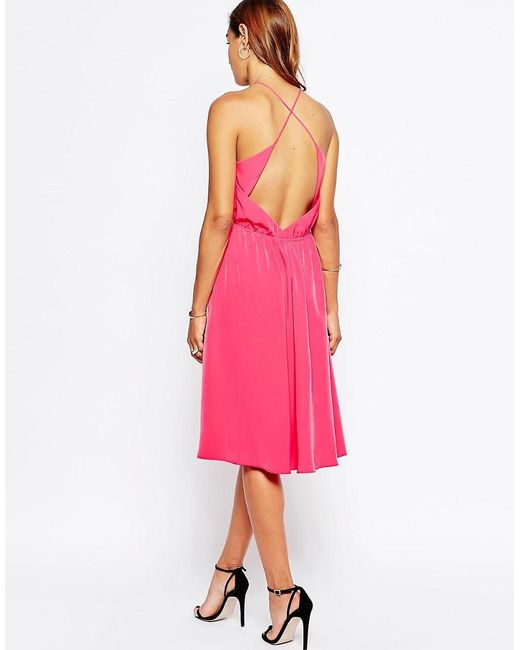 ASOS | Pink Open Cross Back Midi Dress | Lyst