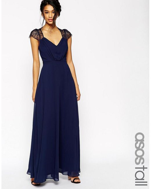 ASOS | Blue Tall Kate Lace Maxi Dress | Lyst