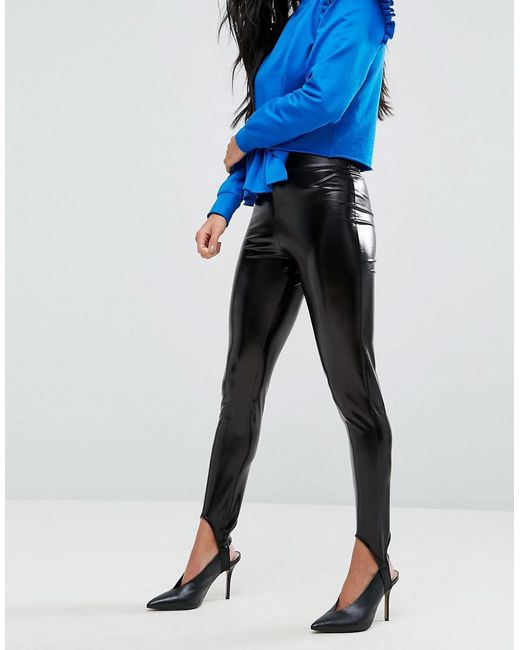 Wet Look Stirrup Legging - Black Miss Selfridge ltKMZg