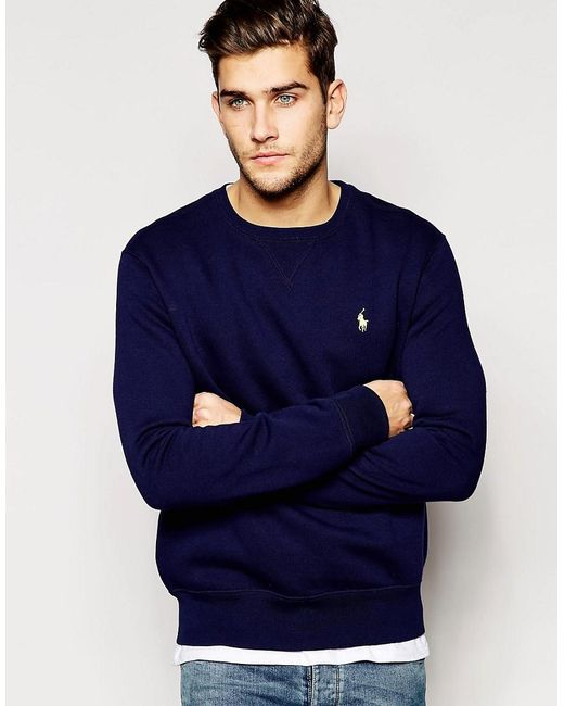 Polo Ralph Lauren | Sweatshirt With Crew Neck In Blue for Men | Lyst