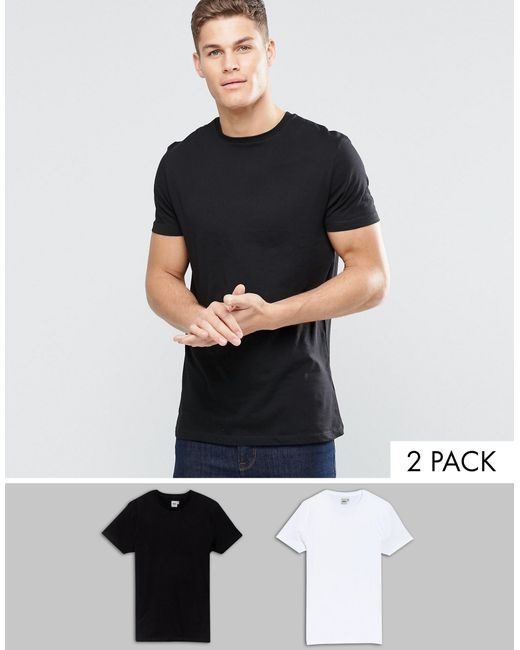 ASOS | 2 Pack Longline T-shirt In Black/white With Crew Neck Save for Men | Lyst
