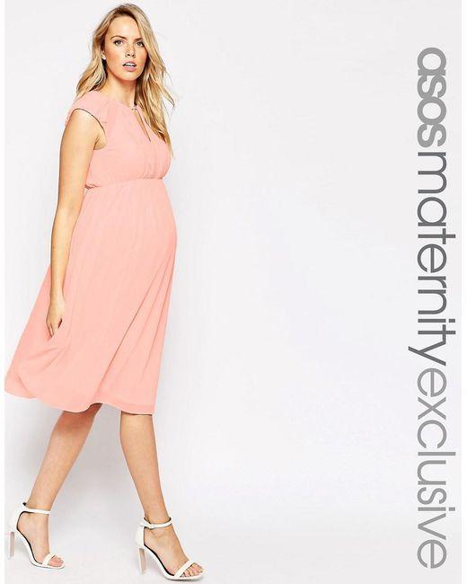 ASOS | Pink Maternity Midi Skater Dress In Chiffon | Lyst