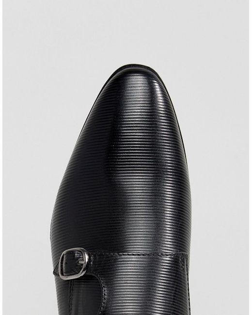 Chaussures De Moine Asos En Cuir Noir Avec Détail Estampé - Noir l7vB0dusq