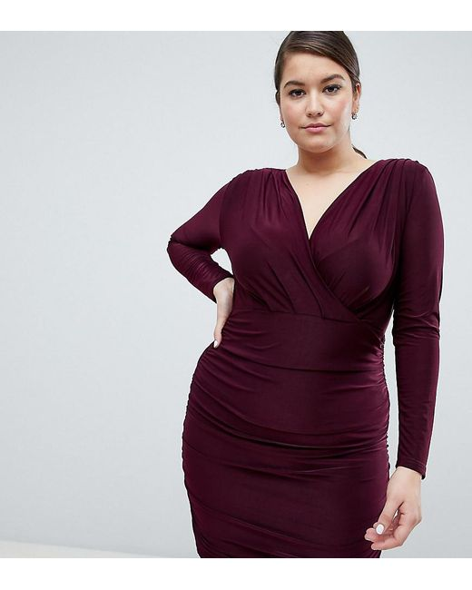 67048ee2a329 AX Paris - Red Slinky Wrap Dress - Lyst ...
