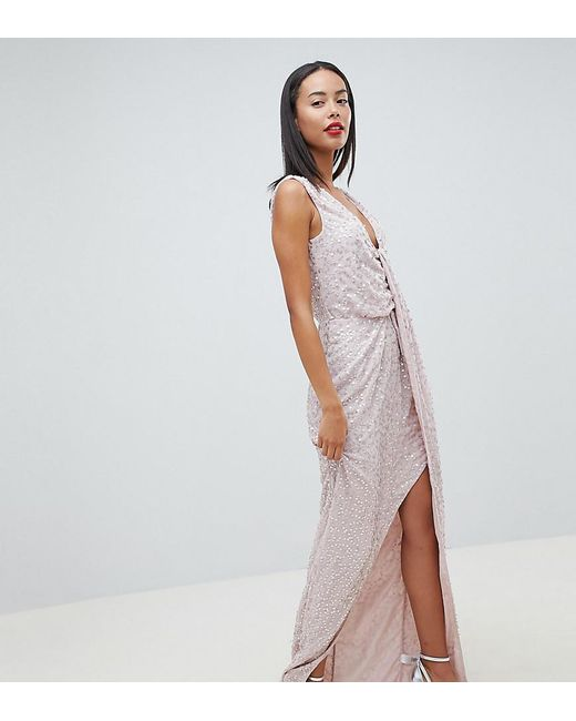 74a4171b6c24 ASOS - Multicolor Asos Design Tall Drape Knot Front Scatter Embellished  Sequin Maxi Dress - Lyst ...