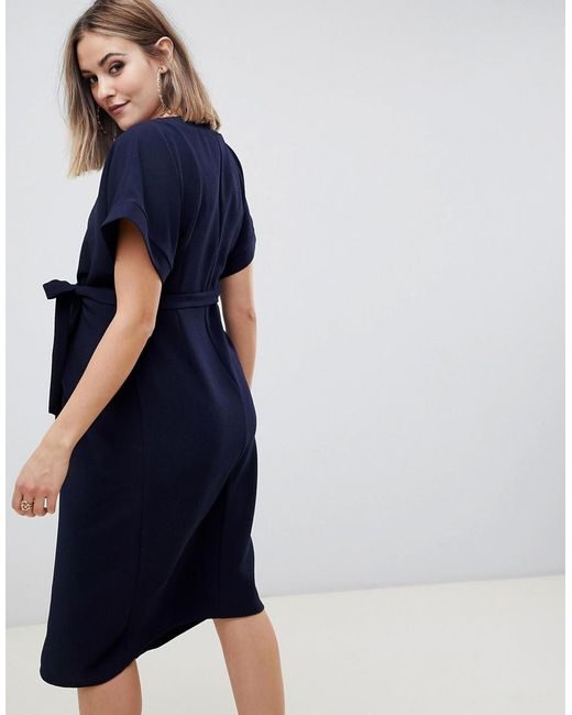3de116407acec ... ASOS - Blue Asos Design Maternity Wrap Midi Dress - Lyst
