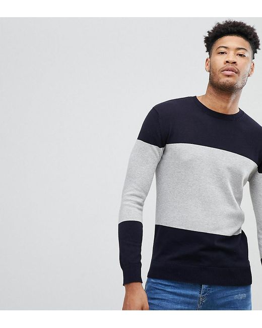 French Connection - Blue Tall Cotton Panel Crew Neck Jumper for Men - Lyst