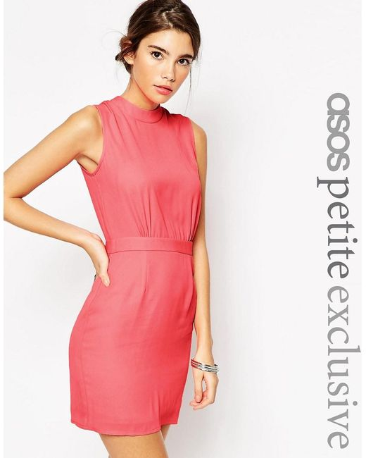 ASOS | Pink Petite Sleeveless Mini Dress With High Neck | Lyst