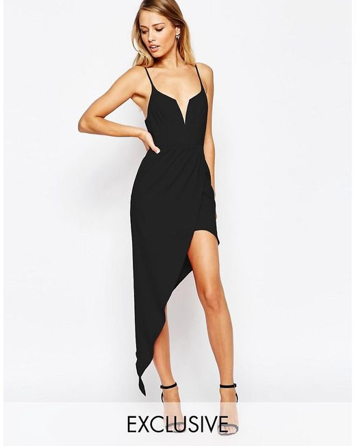 Ginger Fizz   Black Asymmetric Dress   Lyst