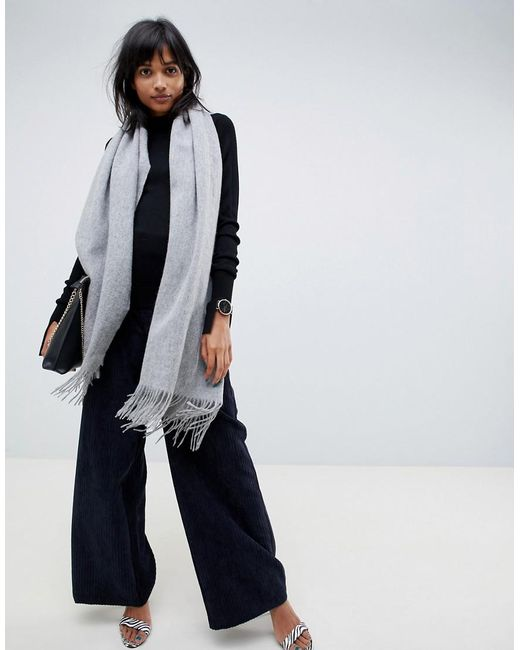 ASOS Gray Oversized Wool Scarf With Tassels