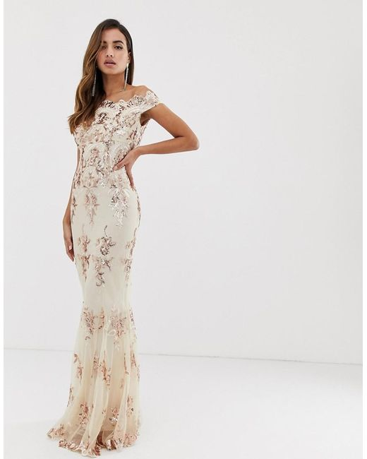 f381ae49f0f Goddiva - Multicolor Off Shoulder Bardot Placement Lace Maxi Dress In Blush  And Gold - Lyst ...