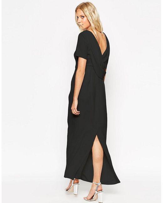 ASOS | Black Cowl Back Crepe Maxi Dress | Lyst