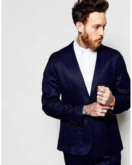 ASOS | Blue Slim Jacket In Navy for Men | Lyst
