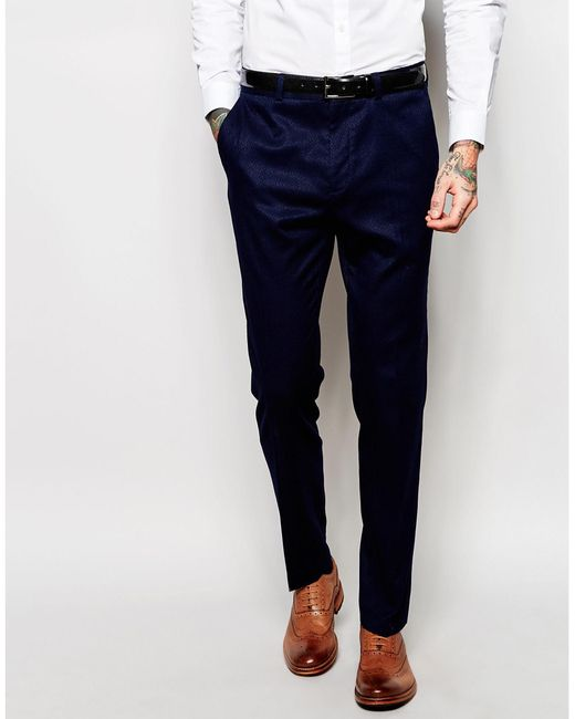 ASOS | Blue Slim Suit Trousers In Navy for Men | Lyst