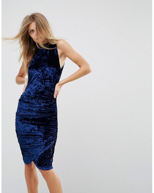 Ax Paris Ruched Crushed Velvet Midi Dress In Blue Lyst