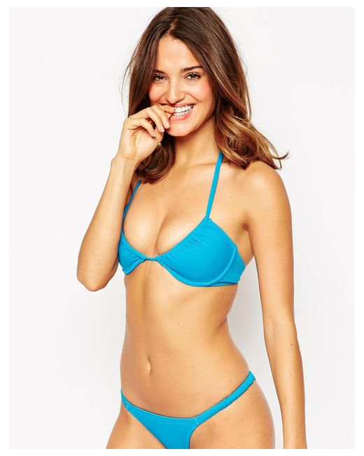 Asos Underwired Ruched Bikini Top In Blue Lyst