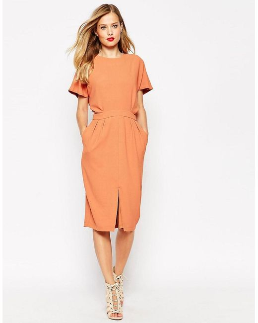 ASOS | Orange Wiggle Dress In Crepe With Open Back And D-ring | Lyst