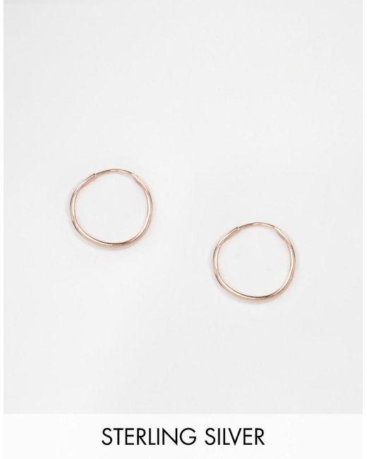 ASOS | Metallic Rose Gold Plated Sterling Silver 9mm Hoop Earrings | Lyst