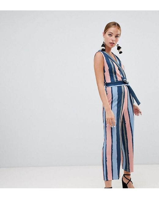 b2fb844d36c Boohoo - Blue Exclusive Petite Stripe Culotte Jumpsuit - Lyst ...