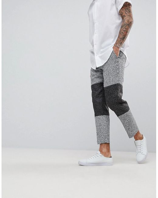 Slim Crop Smart Trousers In Grey Texture With Colour Block Panels - Grey Asos jXZshpWIA3