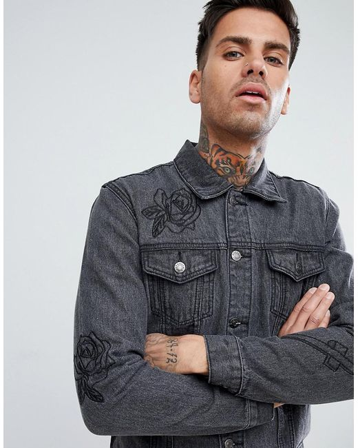 Lyst Boohooman Denim Jacket With Rose Embroidery In Black Wash In