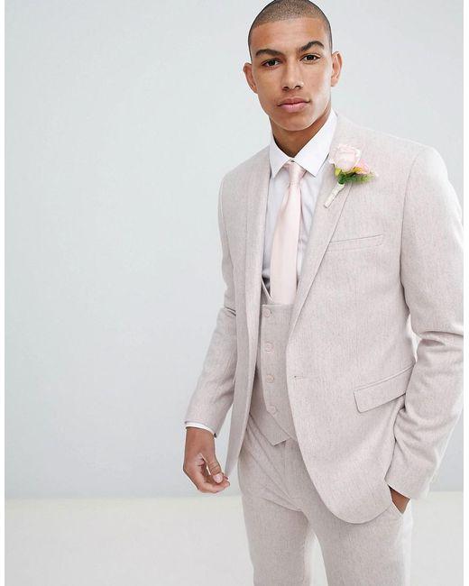 ASOS - Wedding Skinny Suit Jacket In Pink Wool Blend for Men - Lyst