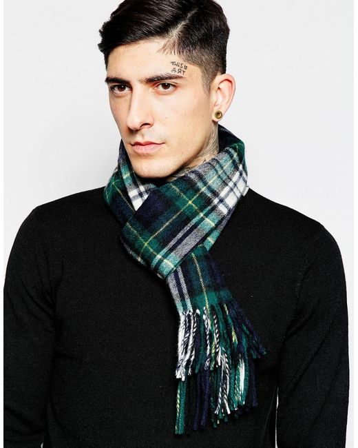 Minimum | Green Check Wool Scarf for Men | Lyst