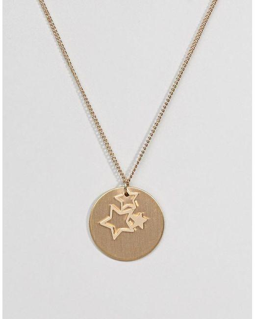Pieces - Metallic Gold Star Trio Necklace - Lyst